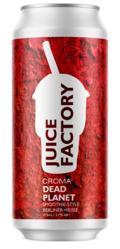 Croma Juice Factory Dead Planet Lata 473ml Smoothie Berliner Weisse c/ Amora, Frutas Vermelhas, Lactose , Baunilha e Cacau
