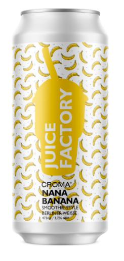 Croma Juice Factory Nana Banana Lata 473ml Smoothie Berliner Weisse com Banana, Maple e Lactose