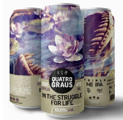 Quatro Graus In the Struggle For Life Lata 473ml Triple NEw England IPA com Farinha deUva
