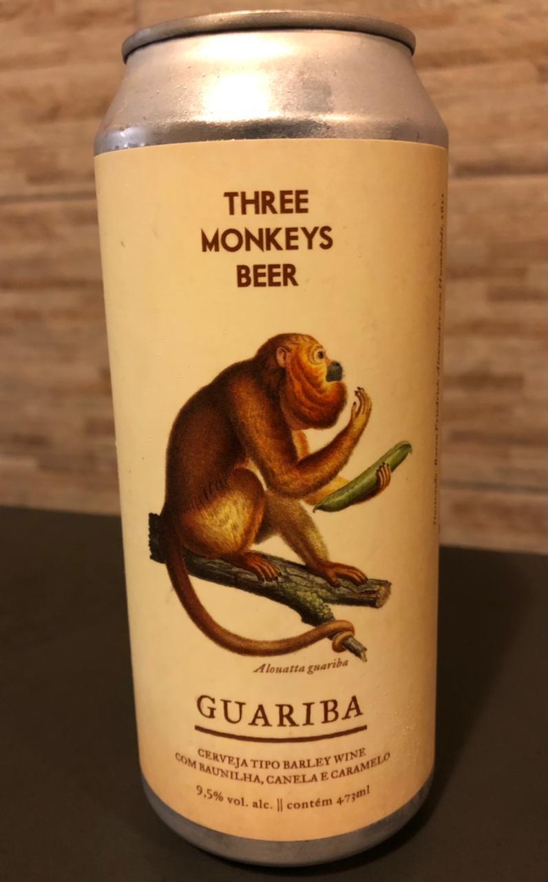 Three Monkeys Guariba Lata 473ml - Barley Wine com Baunilha, Canela e Caramelo