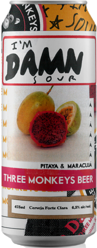 Three Monkeys I´M Damn com Pitaya e Maracuja Lata 473ml