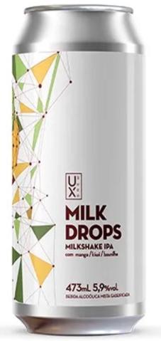 Ux Brew Milk Drops Manga Kiwi e Baunilha Lata 473ml Milkshake IPA