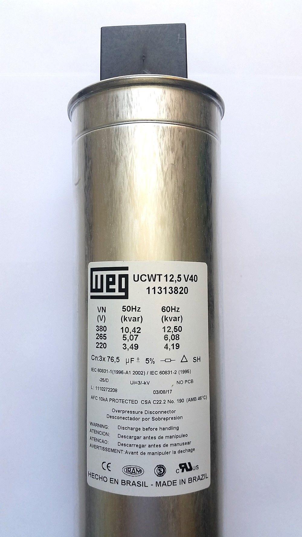 Capacitor Trifásico 12,5Kvar 380V UCW WEG