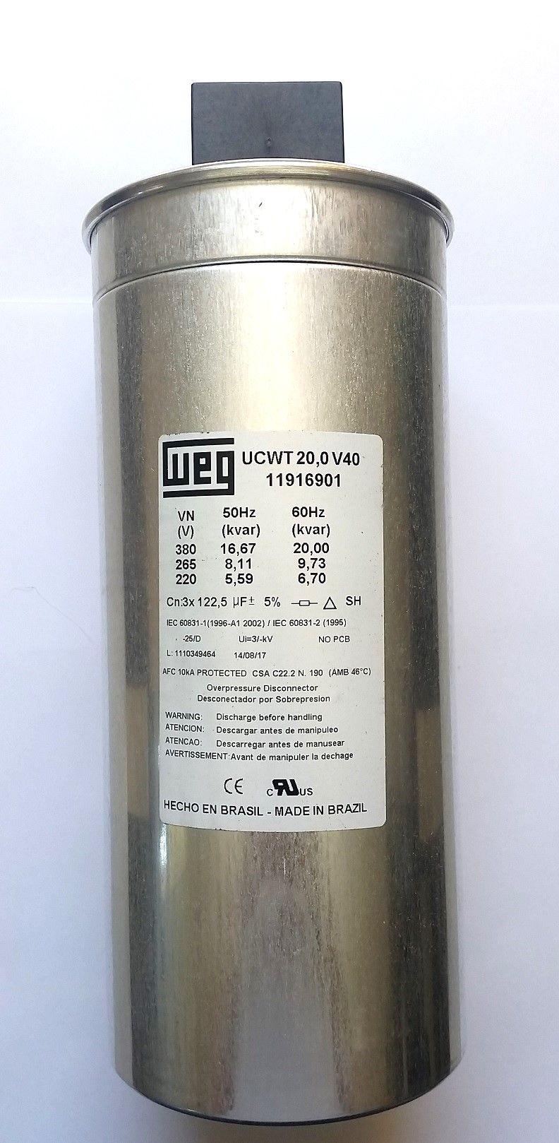 Capacitor Trifásico 20Kvar 380V UCW WEG