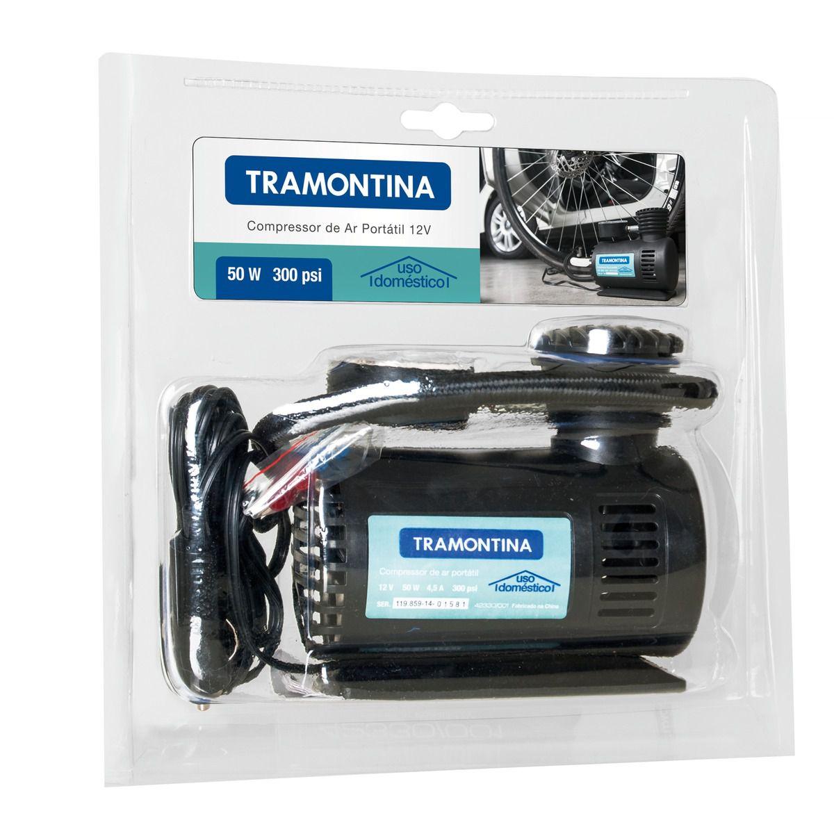 Compressor de Ar Portátil 12V 50W p/ Carro Tramontina