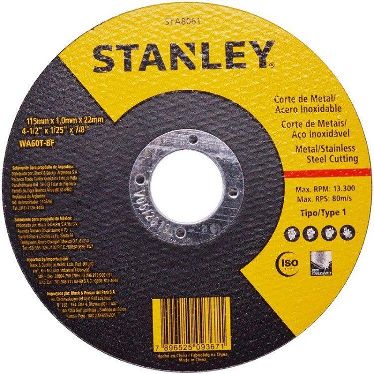 """Disco de Corte 4.1/2""""x1,0mmx7/8"""" Inox 25 pçs STA8061 STANLEY"""