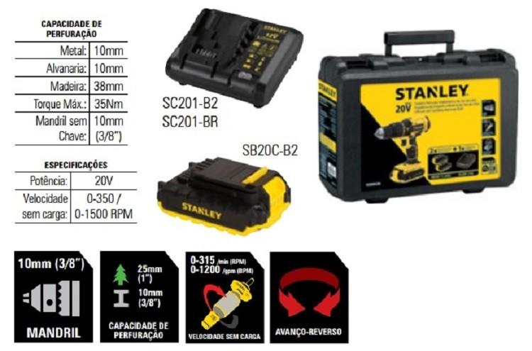 Furadeira/Parafusadeira de Impacto 20V SCH20C2K Stanley