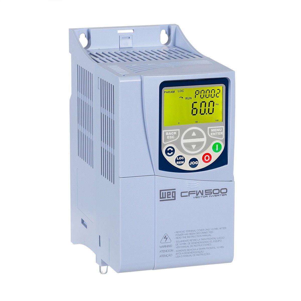 Inversor de frequência Weg CFW500 Entrada 380V 5CV 10A