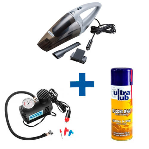 Kit Aspirador Automotivo + Mini Compressor + Silicone Spray