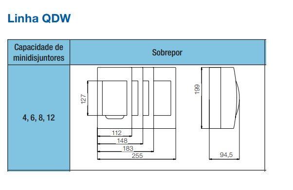 Quadro Distribuição Sobrepor 4 Disjuntor T. Branca QDW Weg
