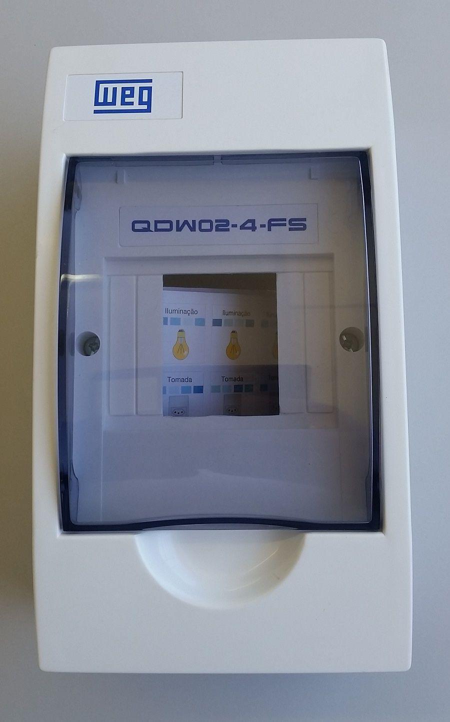 Quadro Distribuição P/ 4 Minidisjuntores QDW02-4-BS C/ TAMPA FUME-11377401 WEG