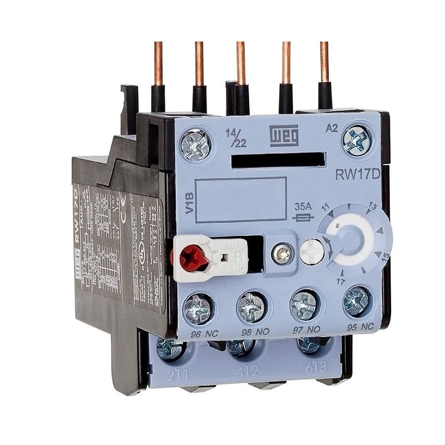 Relé sobrecarga RW17-1D3 ajuste até 17A p/ Contator CW WEG
