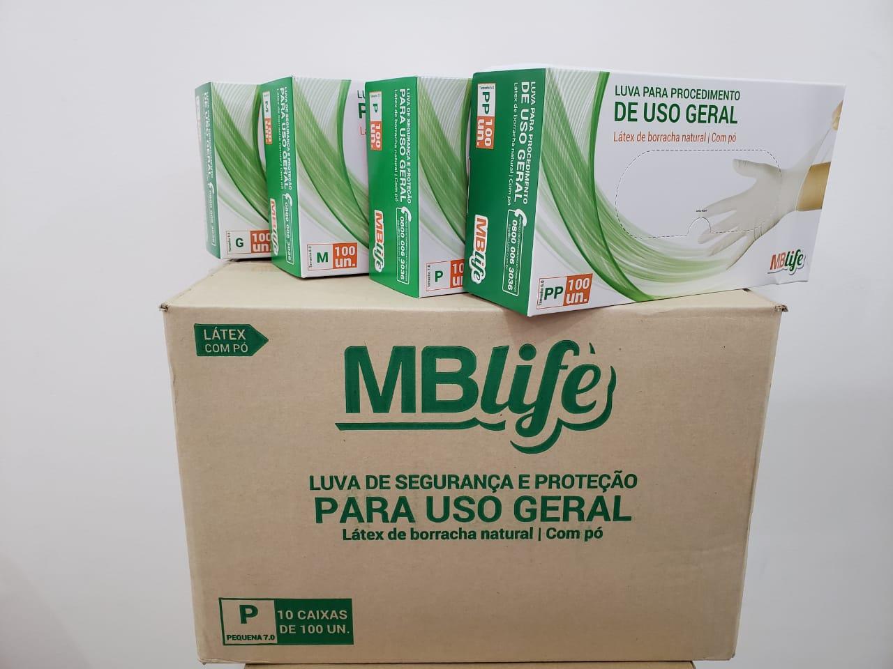Luva de Látex c/pó Medix/MBLife Kit C/10