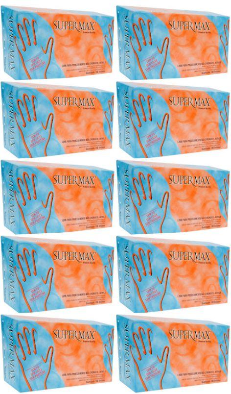 Luva de Procedimento Azul Nitrílica - Caixa c/ 10 caixinhas - Supermax
