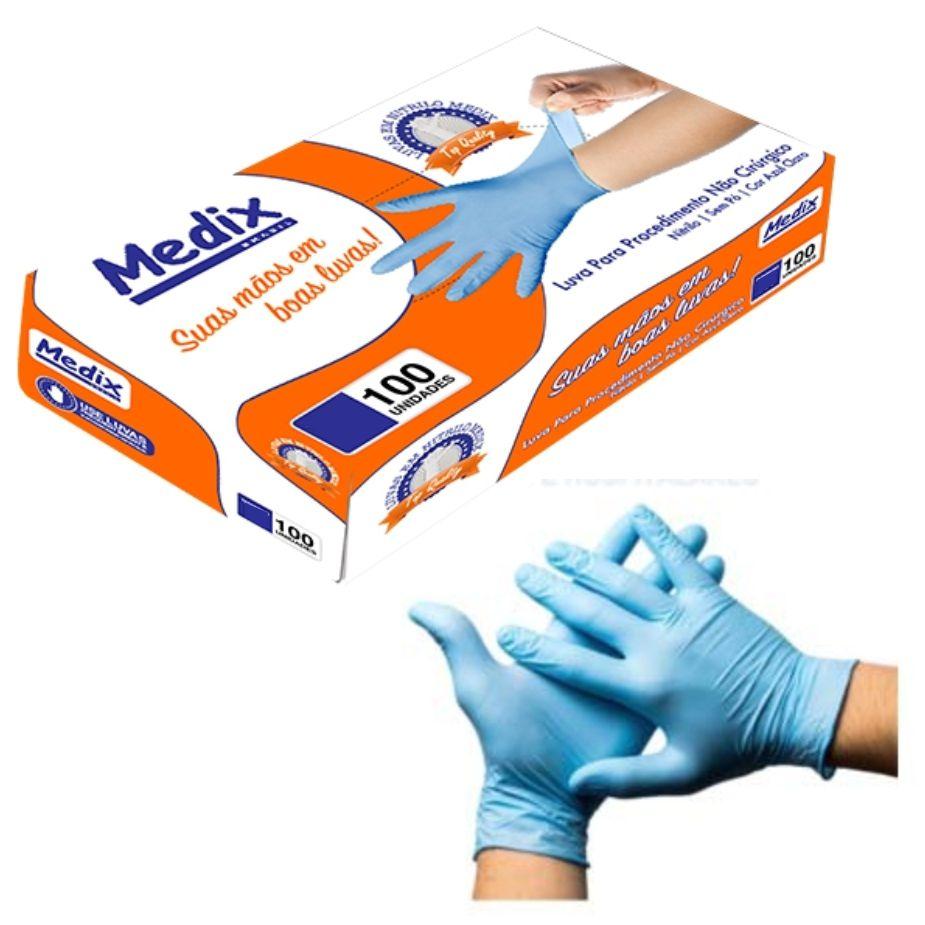 Luva de Procedimento Nitrílica Azul - Medix