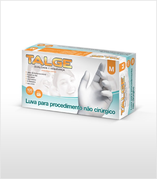 Luva de Procedimento Powder Free - Sem Pó - Caixa Com 100 Luvas - Talge