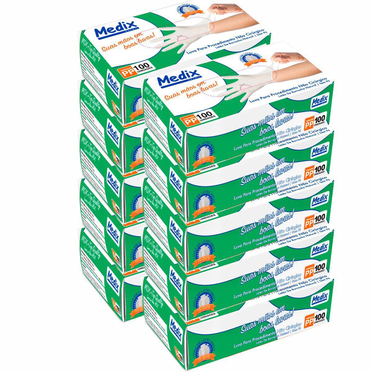 Luva de procedimentos em Latex Caixa c/ 10 Caixinhas - Medix