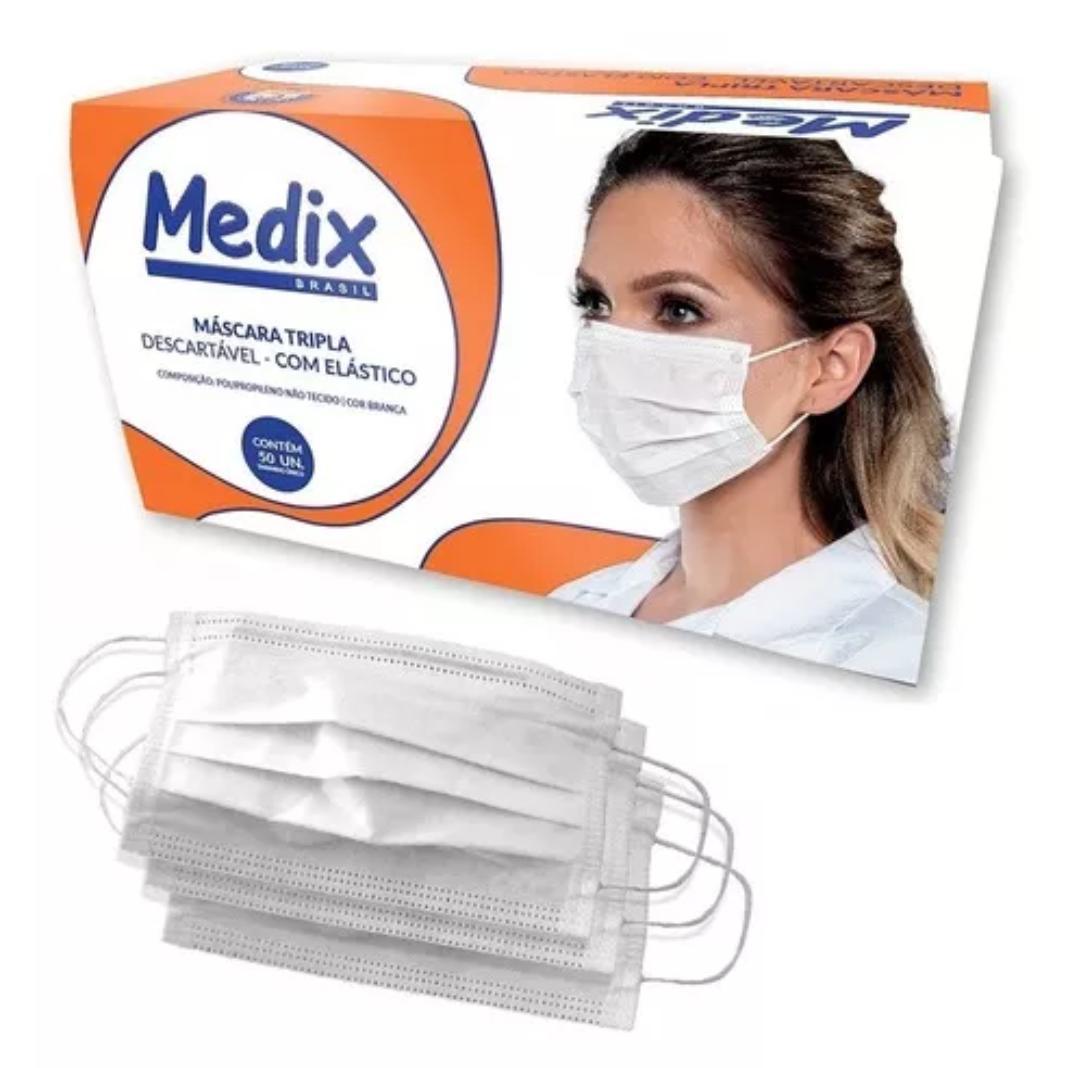 Máscara Descartável Tripla Com Elástico Pacote Com 50 - Medix