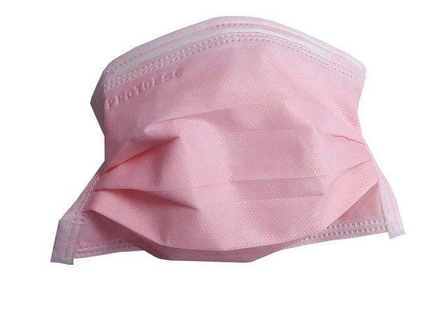 Mascara tripla com elástico - Rosa - Protdesc - Pct c/50 unidades
