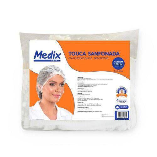 Touca Descartável Em Tnt Sanfonada Pacote Com 100 - Medix