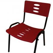 Cadeira Plástica Fixa Empilhável Preto com Vermelho