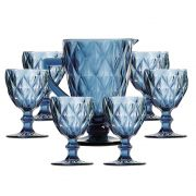 Conjunto 6 Taças De Água Diamante Azul + Jarra 1 Litro