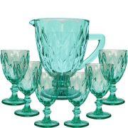 Conjunto 6 Taças De Água Diamante Tiffany + Jarra 1 Litro