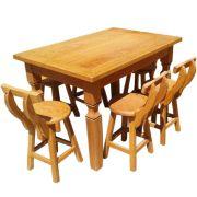 Conjunto Mesa de Jantar 1,4m Madeira Maciça Rústica 6  Banquetas Baixas