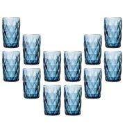 Copo de Água Diamante Azul 350ML Kit Com 12 Unidades