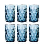 Copo de Água Diamante Azul 350ML Kit Com 6 Unidades