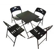 Jogo de Mesa 4 Cadeiras em Ferro e Plástico Resistente Preto