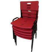 Kit 5 Cadeiras Plástica Empilhável Preto com Vermelho