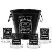 Kit Balde + 4 Copos Jack Daniel's 290ml Whisky