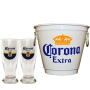 Kit Balde Cerveja + 2 Tulipa Corona Home Bar