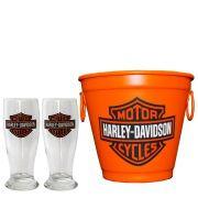 Kit Balde Cerveja + 2 Tulipa Harley Davidson Home Bar