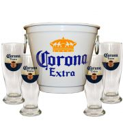 Kit Balde Cerveja + 4 Tulipa Corona Home Bar