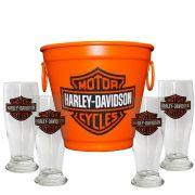 Kit Balde Cerveja + 4 Tulipa Harley Davidson Home Bar