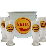 Kit Balde Cerveja + 4 Tulipa Skol Home Bar