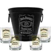 Kit Balde Fosco + 4 Copos Jack Daniel's Mel\Honey 290ml Whisky