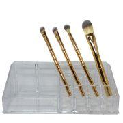Kit Organizador Acrílico 16 Divisórias + 4 Pincéis Maquiagem Bambu Dourado Miss Frandy