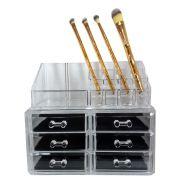 Kit Organizador Acrílico 6 Gavetas + Organizador Acrílico 16 Divisórias + 4 Pincéis Bambu