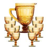 Taça de Água Elegance Ambar/Amarelo 260ML Kit com 12 + Jarra 1L