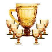 Taça de Água Elegance Ambar/Amarelo 260ML Kit com 6 + Jarra 1L