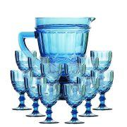 Taça de Água Elegance Azul 260ML Kit com 12 + Jarra 1L