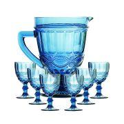 Taça de Água Elegance Azul 260ML Kit com 6 + Jarra 1L