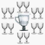 Taça de Água Elegance Transparente 260ML Kit com 12 + Jarra 1L
