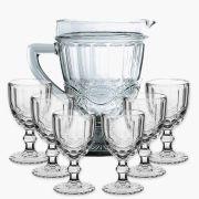 Taça de Água Elegance Transparente 260ML Kit com 6 + Jarra 1L