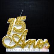 Vela P/ Festa Aniversário 15 Anos Bodas de Cristal Casamento Dourada Strass