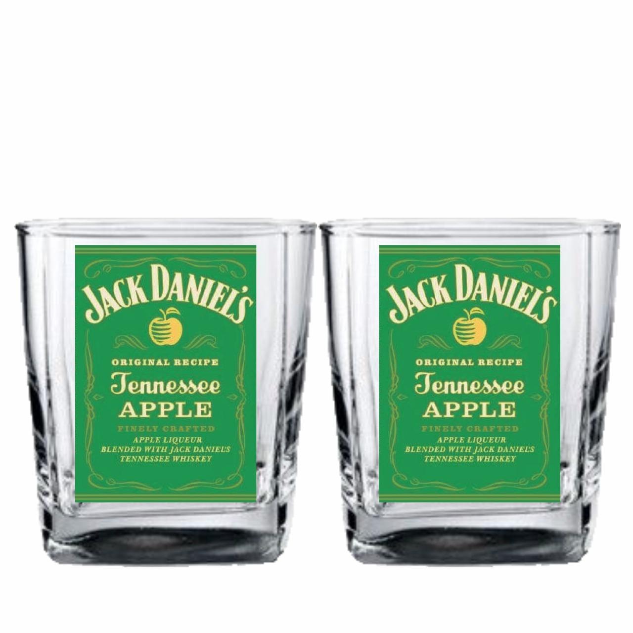 2 Copos Jack Apple Whisky Drinks Home Bar Boteco 290ml