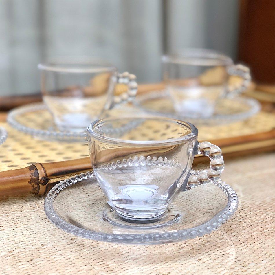 4 Xícaras Bolinha com Pires Cristal Wolff 80ml para Café